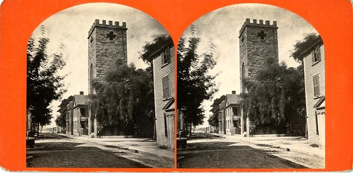 St. Peter's Church, photo taken circa 1866-74 from non-extant section of St. Peter Street where Cinema Salem is now located.
